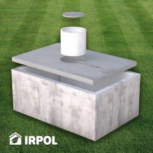Jednokomorowe szambo żelbetonowe firmy IRPOL dostępne w wielu wymiarach i pojemnościach m.in. 4m3, 5m3, 6m3, 8m3, 10m3 i 12m3