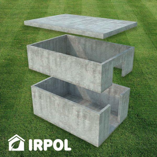 Duża betonowa piwniczka ogrodowa, wersja z wejściem z boku piwnicy, prefabrykaty betonowe z których składa się piwnica.
