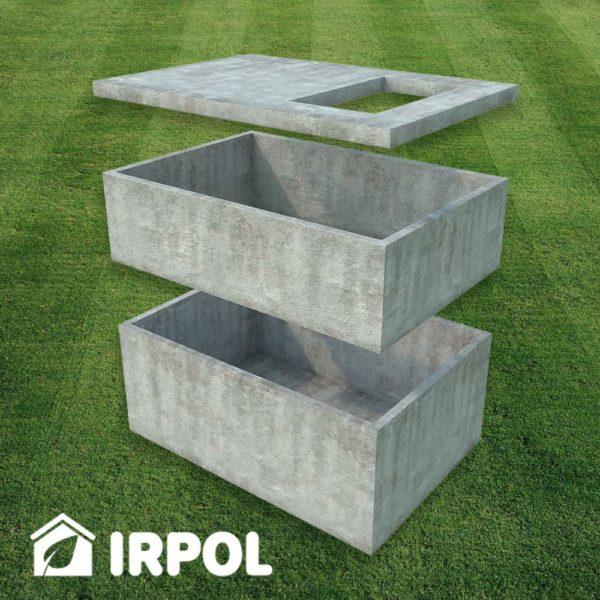 Duża betonowa piwniczka ogrodowa, wersja z wejściem od góry , widok: prefabrykaty betonowe z których składa się piwnica.