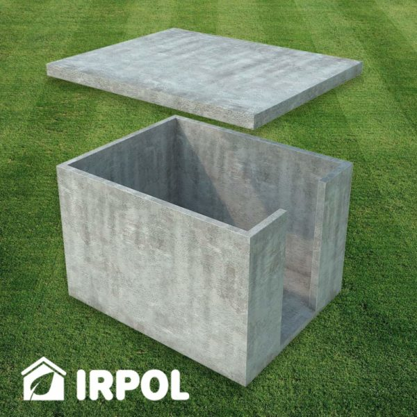 Mała betonowa piwniczka ogrodowa, wersja z wejściem z boku piwnicy, prefabrykaty betonowe z których składa się piwnica.