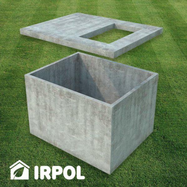 Betonowa piwniczka ogrodowa, wersja z wejściem od góry , widok: prefabrykaty betonowe z których składa się piwnica.